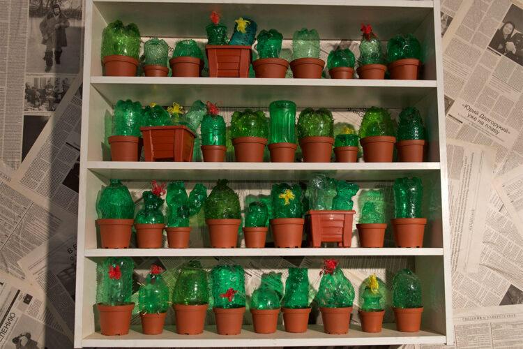 Настенный декор «Полка с неколючими кактусами»