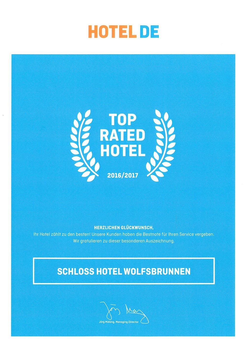 Награда нашего отеля в Германии Schloss Wolfsbrunnen (Волчий Источник) от hotel.de