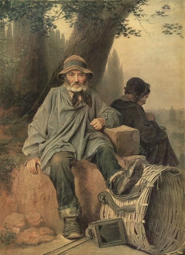 Парижские тряпичники. Картина В.Г. Перова (1864). В такой наплечной корзине старьевщики носили свою «добычу», некоторые имели тачку или телегу с лошадью.