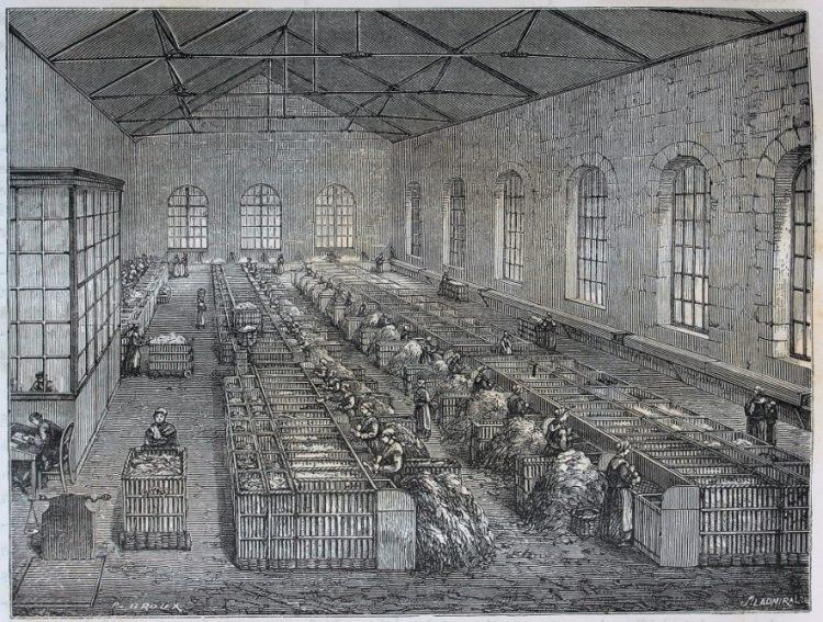 Сортировка старого тряпья в промышленных масштабах. Франция, гравюра, 1870-е годы.